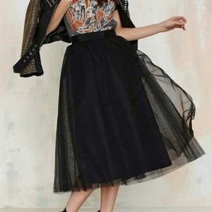 Nasty Gal Tulle Mesh Midi Skirt Black